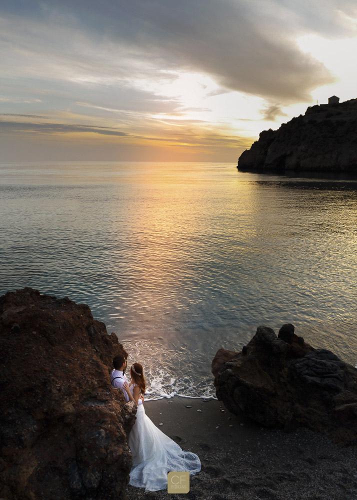 Un horizonte dorado sobre Hisam y Beatriz. CF Bodas. Fotos de boda.