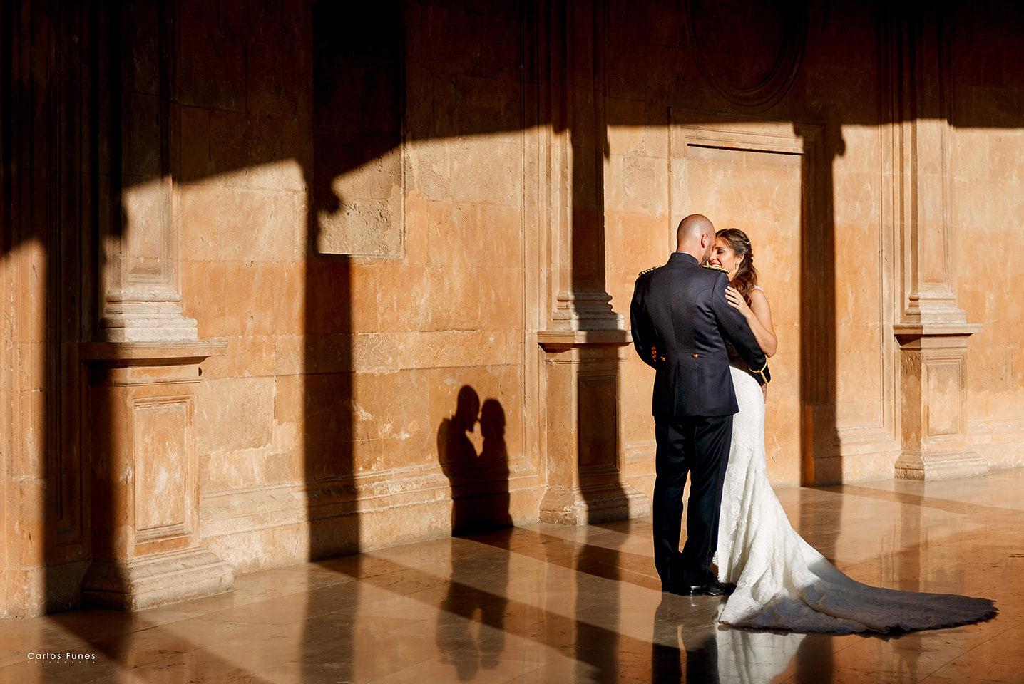 Palacio Carlos V. Fotos boda en Granada de Maribel y Julio